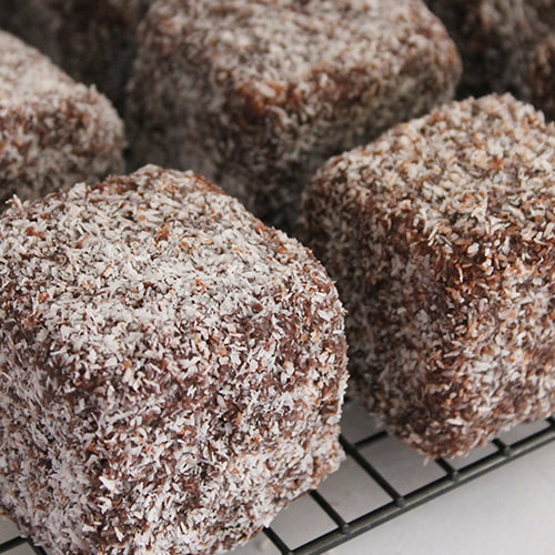 Cheat's lamingtons made from butter cake