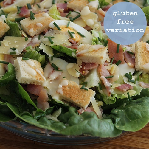 Traditional Caesar Salad with a homemade dressing - gluten free variation included
