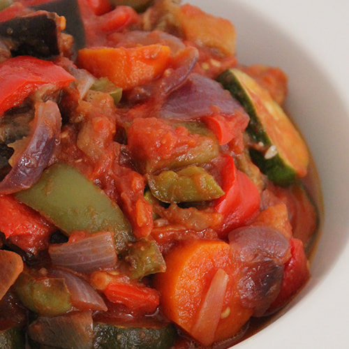 Ratatouille - used for the base of the vegetable lasagne. Supremely rich flavour.
